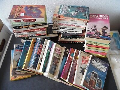 Lot of 50 Vintage Science Fiction Paperback Books 1950s-80s