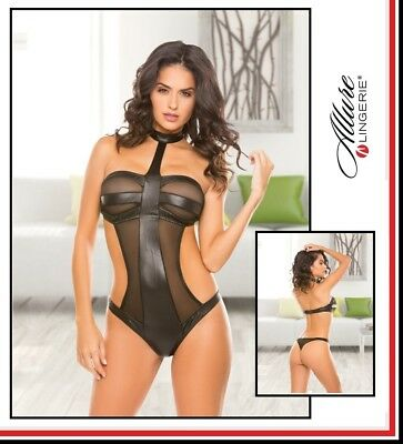 Body con collare Wetlook Mesh Teddy Allure Lingerie Sexy Intimo fetish DONNA xxx