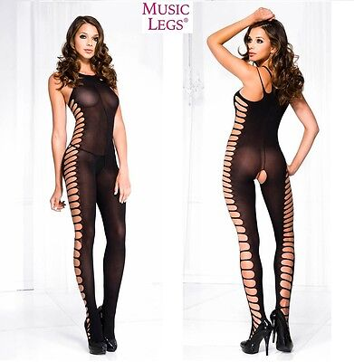 Bodystocking Nera Side Cut MusicLegs Sexy shop donna intimo tuta erotic catsuit