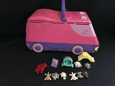 Vintage polly pocket Style Pound Puppies Bus And Figures 🐶