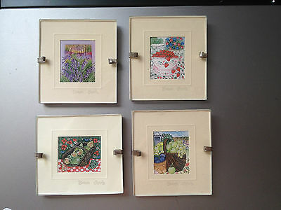 4 Sharon Jervis miniature framed watercolor prints fruit & flowers England