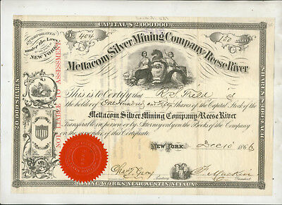 1866 Mettacom Silver Mining Company Of Reese River New York Stock Certificate