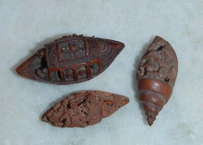 3 Antique Chinese~Japanese Intricately Carved Wood Nut Seed Ojime Button~Beads