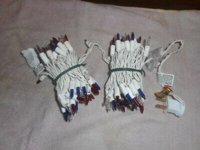 Red White & Blue 100 Mini Lights Patriotic 4Th Of July White Wire In/outdoor