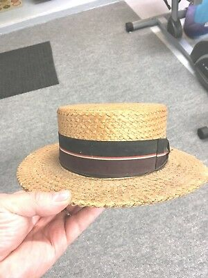 """VINTAGE MEN'S  WOVEN STRAW BOATER HAT SIZE 7 1/8 """" WOOD and WOOD"""