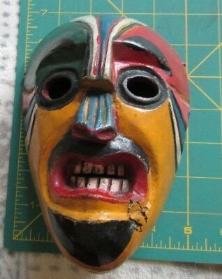 """ORNATE, MEXICAN, CARVED WOOD MASK - MULTI-COLOR - approx 5 x 7 x 4"""""""