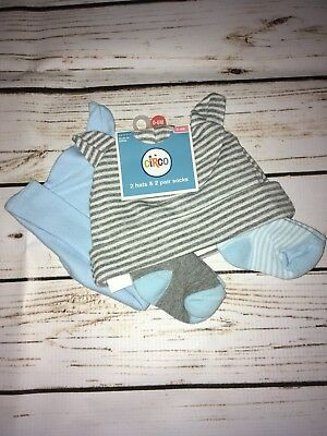 NWT Circo Hats and Socks Set, 2 Hats, 2 Sets of Socks, 0-6M