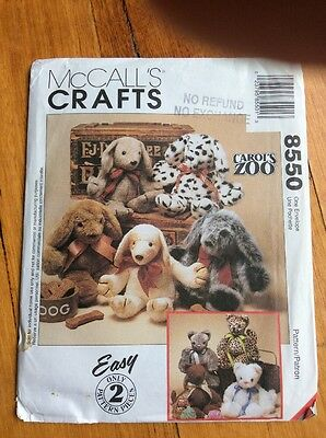 Mc Calls Craft pattern 8550 Carol's Zoo easy 2 pattern pieces