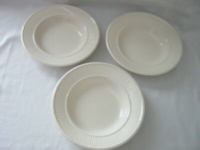 "Set of 3 Wedgwood EDME Queen's Ware Ribbed 8-1/8"" Soup/Salad Bowls"