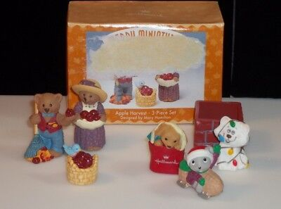 Hallmark Merry Miniatures Lot - Apple Harvest Autumn & Christmas pieces Cute!