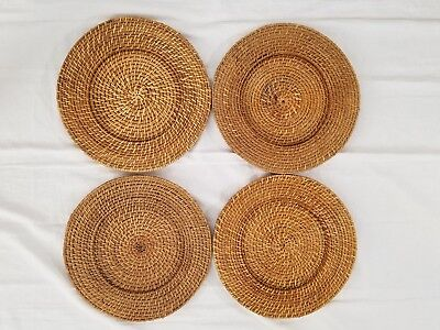 Woven Rattan Wicker Charger Plates Holders 13 Set Of 4
