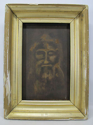 Antique Early 1900s Jesus Christ Shroud of Turin Portrait Oil/Board Painting yqz