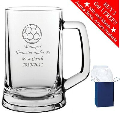 Personalised Engraved Glass Tankard Football Award Trophy Gift Sports Best Coach