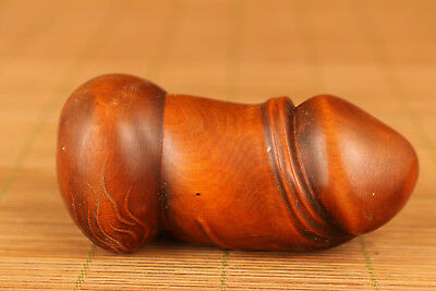 Rare chinese old Boxwood Hand Carved Penis Blessing Big Statue Netsuke