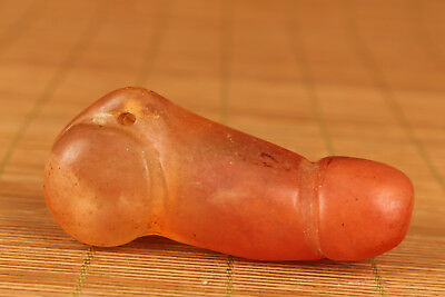 Big chinese old Natural Crystal Hand Carved Penis Statue Netsuke