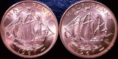 1967 CLIPPER SHIP Half Cents UK 1/2 Penny CH BU RED NICE 2 Coin LOT  NO RESERVE