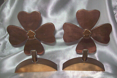 Vintage Hand Made Scrap Brass & Copper from Ships Four Leaf Clover Ornaments
