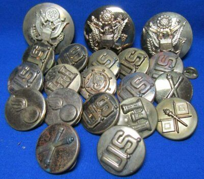 WWII Army Artillery, Ordnance, Engineer Enlisted Discs & Hat Badges Lot Of 20