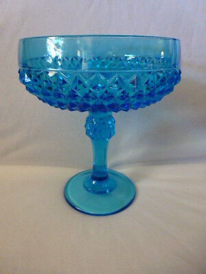 "Vintage Tiara Diamond Point Turquoise Blue Glass Compote 7 1/4"" tall - 6"" Across"