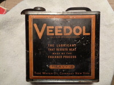 Rare 1920's  Veedol One Gallon Oil Can Tin Gas Station Advertising