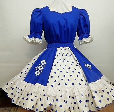 2 Pc Royal Blue And White Dots And Squares Square Dance Dress