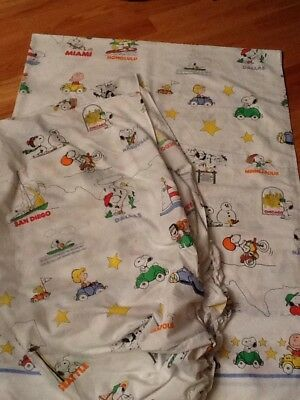 Vintage Snoopy Peanuts Twin Sheet  Set Travel Cities