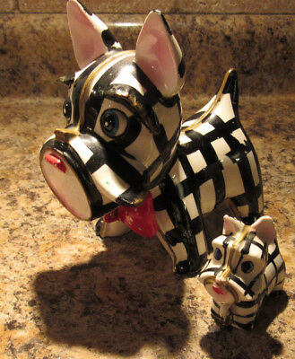 RARE Large Ceramic Scottie Dog W 1 PUP JAPAN VINTAGE CHAINED DOGS
