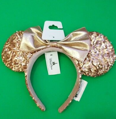 Disney Parks Out Rose Gold Sequin Minnie Mouse Ears Headband Brand new