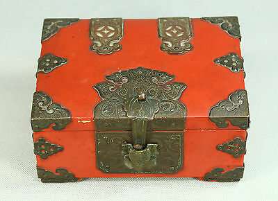 Antique 1800s Chinese Coral Red Lacquer on Wood & Brass Fittings Box Turtle Lock