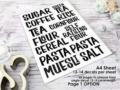 Kitchen Canister/Storage Labels,Customizable Vinyl Decal,Styalized Font,Washable