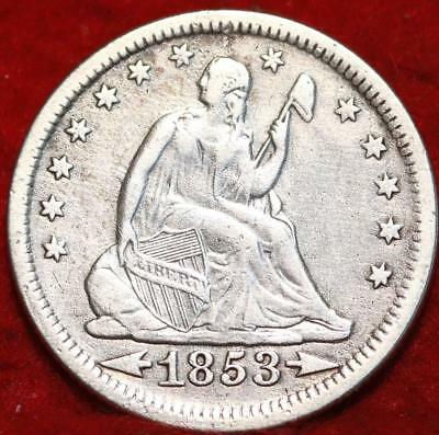 1853 Philadelphia Mint Silver Seated Liberty Arrows and Rays Quarter