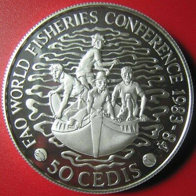 ND-1984 GHANA 50 CEDIS 1.67oz SILVER PROOF PIEFORT FISHERIES RARE MINT=520 COINS