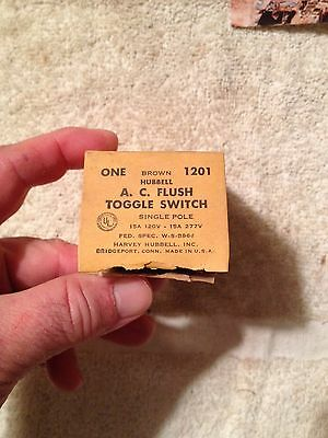 Harvey Hubble, NOS, 1201 Brown A. C. Flush Toggle Switch, Single Pole 15A 120V,