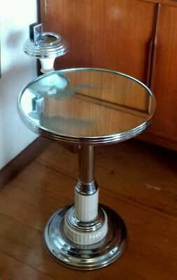 Art deco 1950s bakelite and chrome etched mirrored smokers table