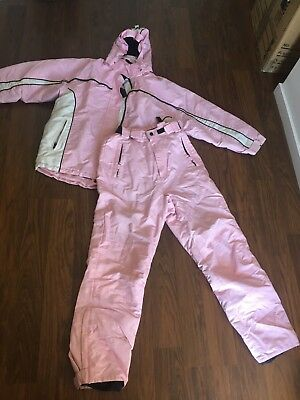 As New Matching Pink Girls Snow Suit   / Ski Pants &  Hooded Jacket Size 12