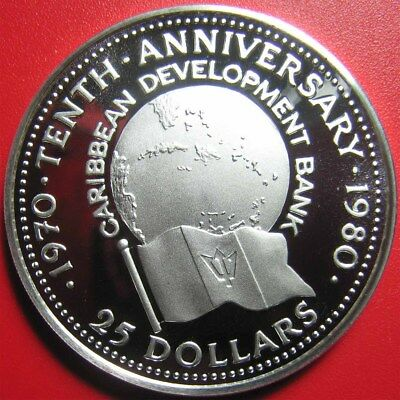 1980 Barbados $25 Silver Proof Caribbean Development Bank Rare Mint=2,345 Coins!