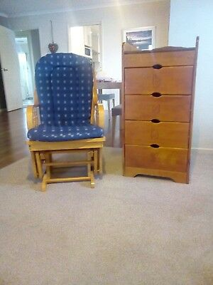 Baby Change Table With Drawers and Rocking Chair