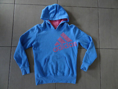 Youth Girls Blue Adidas Hoodie Jumper - Size 13-14Y, Excellent Condition