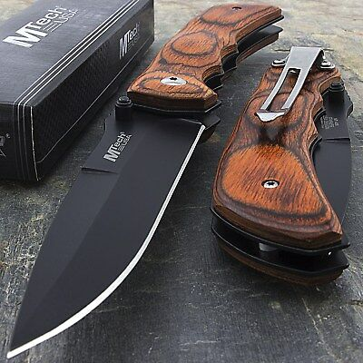 """7.75"""" M-Tech Usa Red Wood Stainles Steel Folding Pocket Knife Edc"""