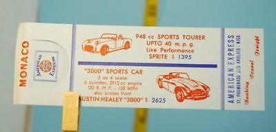 Austin Healey 3000 Sprite Dealer Advertising Ticket Monaco Monte Carlo 1960 RARE
