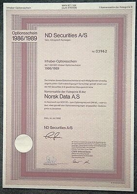 ND Securities A/S 1er-OS auf Norsk Data A.S Namensaktie Kategorie B 1986