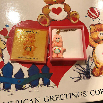 "Care Bears ""cheer"" Vintage Necklace American Greetings Corp 1985"
