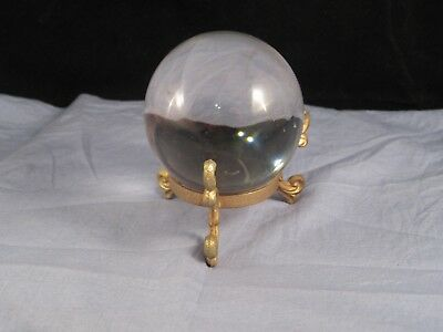 Vintage Magic Crystal Ball On Stand Fortune Tellers Gypsy Witch Zodiac Stars