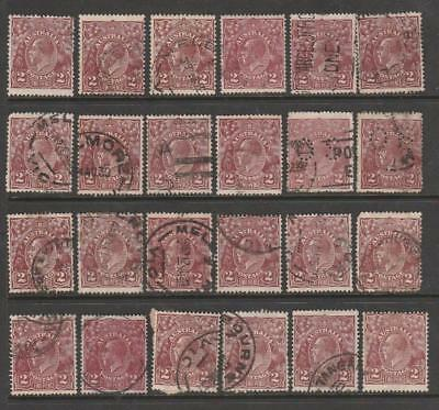 COLLECTION KGV 2d BROWN X 24 OF USED PRE DECIMAL AUSTRALIA