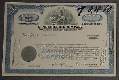 Sunray DX Oil Company 1966 10 Shares