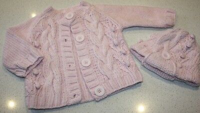 Seed Baby Girls Cotton Knit Cardigan & Beanie.  Size 3 - 6 Months / 00.  In Euc