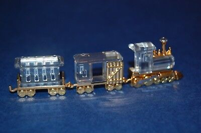 Swarovski Memories Train and Carraiges Cut Crystal 18ct Gold Plated Ornament