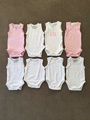 Girls Marquise & Pure Baby Singlet Rompers X 8. Size 0000. Barely Used!