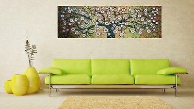 """47"""" Framed Tree Of Life abstract art Print  green painting canvas dot landscape"""