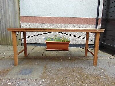 """Vintage Folding Pine Trestle Table 72"""" x 26 1/2"""" x 30"""" tall. I of 2 for sale"""